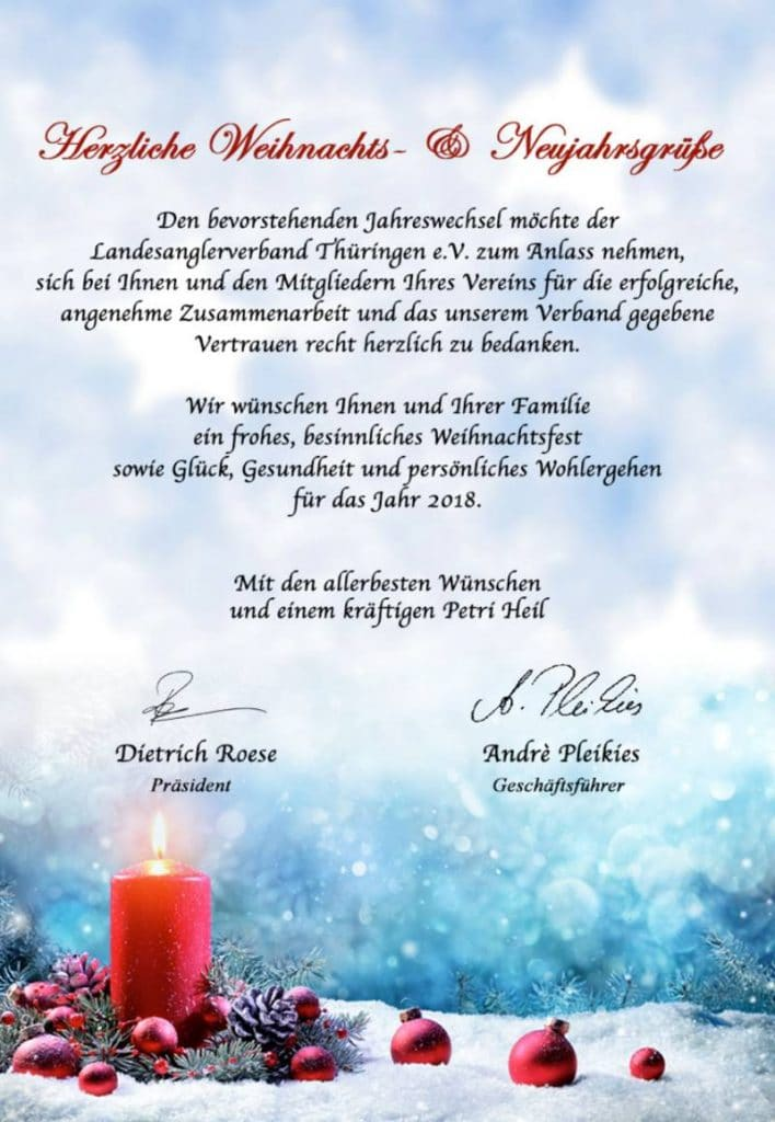 Weihnachts- und Neujahrsgrüße vom Landesanglerverband Thüringen e.V.