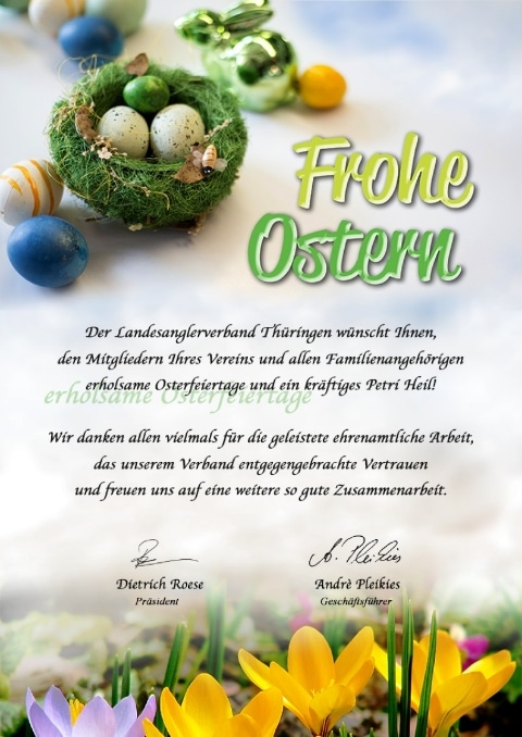 Ostergrüße vom Landesanglerverband Thüringen e.V.