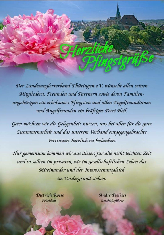 """Pfingstgrüße 2020"" vom Landesanglerverband Thüringen e.V."